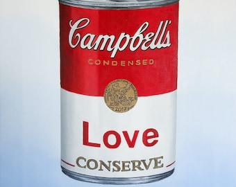 "wall art, 19"" oil painting, still life, popart, Andy Warhol style, urban art, popular, modern, art deco, fine art, Love, yes we can!"