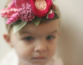Pretty in Pink Wildflower Bouquet flower girl bridal felt flower crown