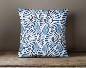 Blue Fan Print Pillow