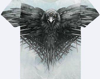 2017  Game of Thrones Crown Flies Black Raven THREE EYED RAVEN 3D simbol shirt sign  T-shirt new