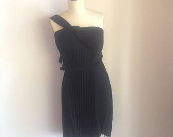 Black, assymetrical, accordian pleat dress