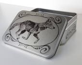 Grey Wolf, North American Wildlife, Small Metal Storage Container