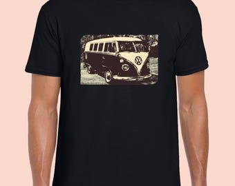 Kombi VW Volkswagen.  Sepia Vw Vintage T-Shirt. Black 100% Cotton Tshirt