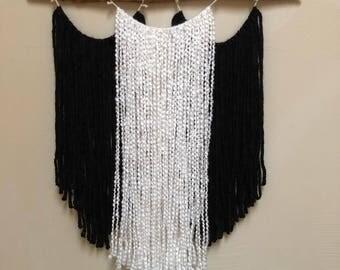 Boho yarn ans stick wall hanging