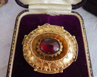 Antique Victorian Etruscan Revival Gold Garnet Brooch Pin Pendant