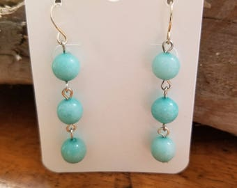 Triple Tier Amazonite Earrings
