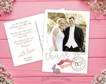 Printable OR Printed Thank You Postcard - Personalise, Wedding Gift, Custom Message Cards, Wedding Photo