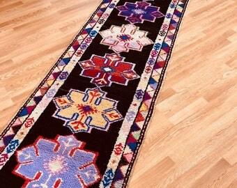 "2'.9"" x 12'.1"" ft, Turkish rug, vintage rug, oushak rug, nomadic rug, moroccan style, handmade rug, organic rug, wool rug, free shipping!!!!"