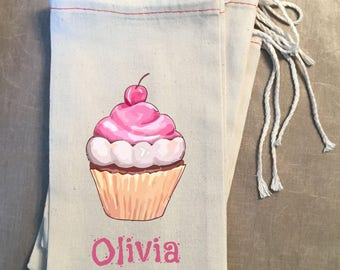 Birthday Party Favor Treat Bag, Cupcake Party Welcome Bag, Birthday Goodie Bag, Party Favor Loot Bag, Treat Bag, Choose Color