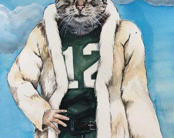 Cat Character Painting-Cat Portraits-Custom Watercolor Pet Portrait-Funny-Unique Gift-Pet Portrait