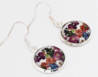 Flower bouquet earrings, floral earrings, magnifying glass cabochon earrings, purple, pink, orange, silver plated, 16 mm /0.63'' diameter