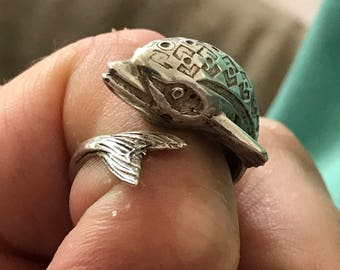Sterling solid Silver leaping fish or regency dolphin vintage or antique ring size variable 8 US Q UK