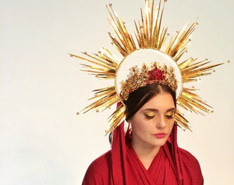 Halo Headdress, crown light aureola, gold, headpiece, madonna, St Mary, godness