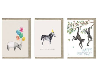 Animal birthday cards - set of 3