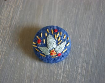 embroidered button flower