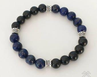 Mens bracelet - Lapis Lazuli bracelet - Shungite bracelet - Mens beaded bracelet - Lapis Lazuli beads - Karelian Shungite beads