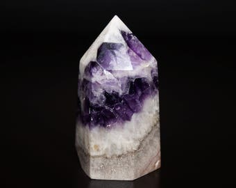 Amethyst Tower - Purple Gemstone Point Wand - Banded Healing Crystal - AT2