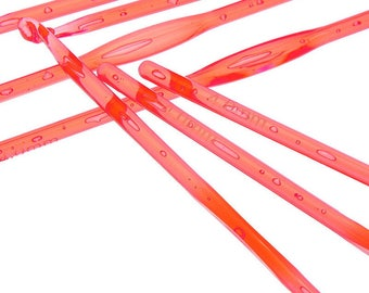 Red acrylic Crochet needles