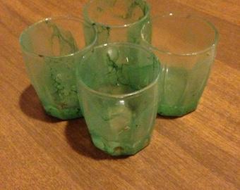 Green Marbled Shot Glasses
