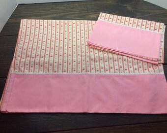 Vintage Pillowcase, Vintage Pink Pillowcase, Vintage Floral Pillowcase, Pink Rose Pillowcase