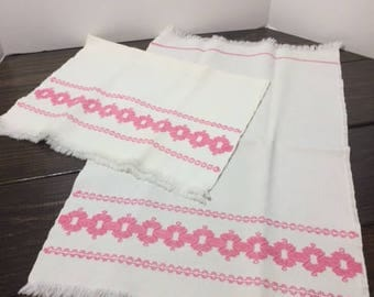 Vintage Tea Towels, Cross Stitch Tea Towels, Pink Tea Towels, Kitchen Towels, Vintage Dishcloths, Vintage Kitchen Towels