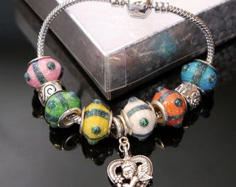 Genuine Pandora Lobster Clasp Bracelet with 6 Brightly Colored Paper Beads