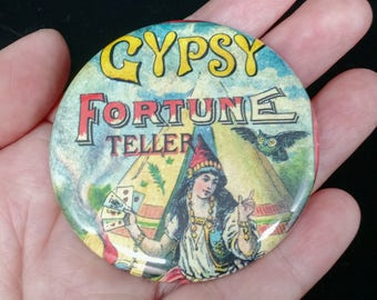 Gypsy Fortune Teller Pinback Button | Vintage Image Button | Fortune Teller Button Badge | Fun Accessories | Fun Badges and Pins | Gypsy