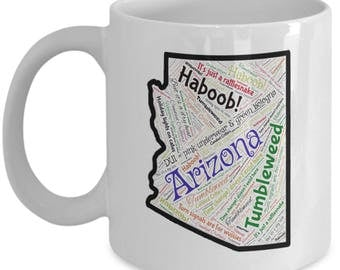Arizona Funny Words Map Coffee Mug / Tea Cup