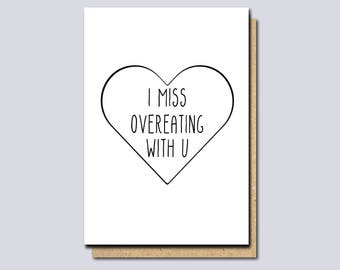I miss you card, thinking of you card, funny miss you card, long distance card, card for boyfriend, card for girlfriend, funny greeting card