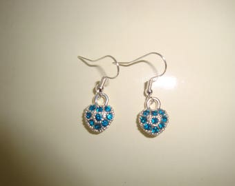 Blue Rhinestone Heart earring
