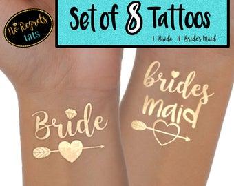 Bride's Maid Tattoo / Bachelorette party / Bachelorette party favors / Gold foil tattoo / Bachelorette tattoo