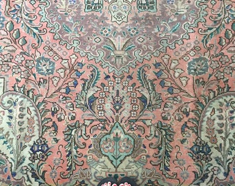 Gloria // Antique Persian Tabriz Heriz Area Rug 9'9' x 8', vintage bohemian tribal peach pink rug 8x10