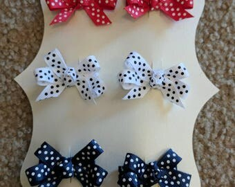 4th of July Hair clips, red white and blue clips