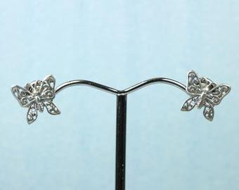 Boho Sterling Silver Butterfly Stud Earrings