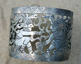 Vintage Silver Cuff Bracelet Mayan Warriors with Quetzal headrest, from Guatemala