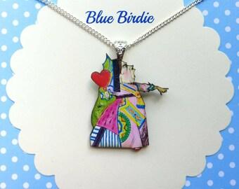 Queen of hearts necklace Alice in wonderland jewelry Alice jewelry Alice necklace queen of hearts jewellery Alice in wonderland gifts red