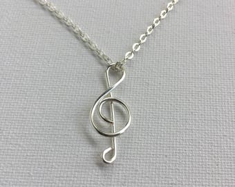 Treble Clef Music Wire Silver Necklace- Notes, Name Necklace, Customized Necklace