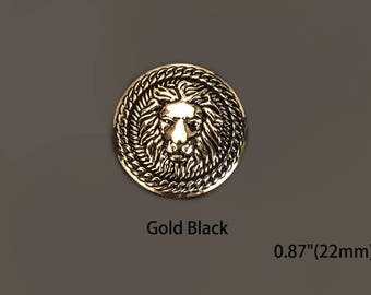 "Lion Buttons Gold Black Custom Bead Luxury OverCoat Sewing DIY 0.87""(22mm)- c85"