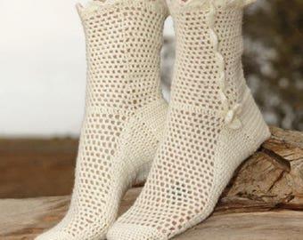 Knitted Socks Handmade socks crochet socks handknit socks off white socks black socks lolita socks victorian socks white socks Drops Lilith