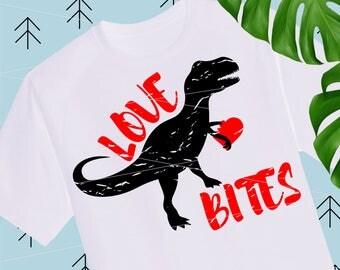 Love Bites Distressed svg Boy Valentine SVG Dinosaur svg Quotes Svg Valentine Shirts for Boys girls svg files for Cricut Silhouette lfvs