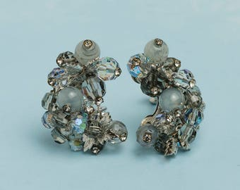 Vendome Cluster Clip On Earrings | 1950s Vintage