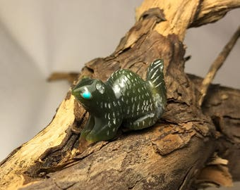Zuni Squirrel Fetish Carving with Nephrite Jade & Turquoise