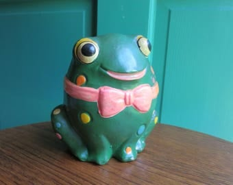 Vintage Retro Colorful Frog Bank Made in Taiwan