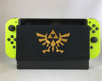 Embroidery Zelda Triforce Crest- Nintendo Switch Dock Cover – Switch Case – Switch Protector – Switch Dock Sock – Nintendo Dock Sleeve