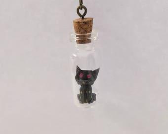 Origami Cat Necklace ,Japanese Washi Paper,Terrarium Nacklace,Glass Bottle,Christmas Gift