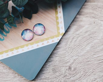 watercolour geometric stud earrings