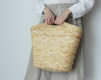 Vintage straw bag, large straw bag, beach bag, wicker, woven bag, market bag, straw tote, shopper,  straw purse, basket bag, VEGAN bag