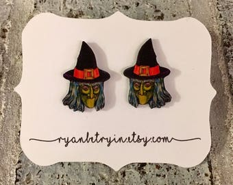 Vintage Witch Stud Earrings - Vintage Halloween -  Witch Studs - Witch Earrings - Halloween Earrings - Halloween Jewelry - Witchy Woman