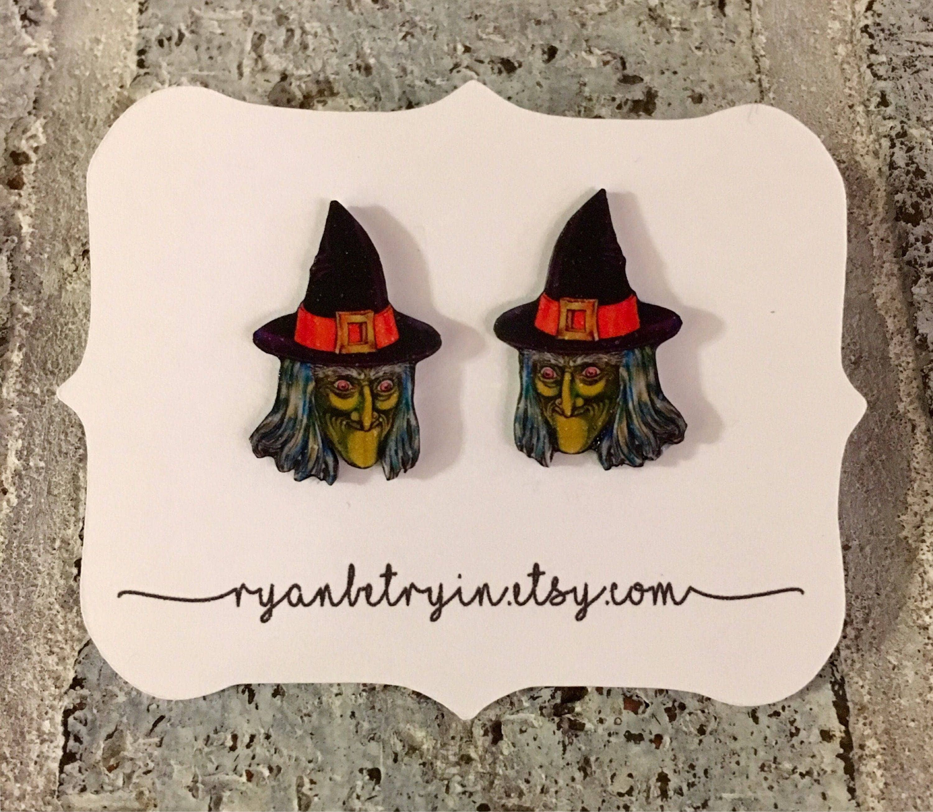 vintage witch stud earrings vintage halloween witch studs witch earrings halloween earrings