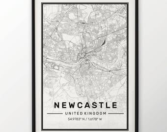 Newcastle City Map Print Modern Contemporary poster in sizes 50x70 fit for Ikea frame 19.5 x 27.5 All city available London, New York Paris